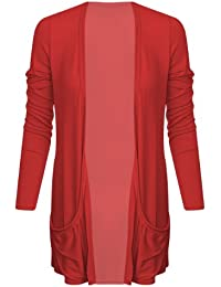 Ladies Boyfriend Long Sleeve Pocket Womens Top Open Cardigan Size 8 10 12 14 (S/M ( UK 8/10), Red)