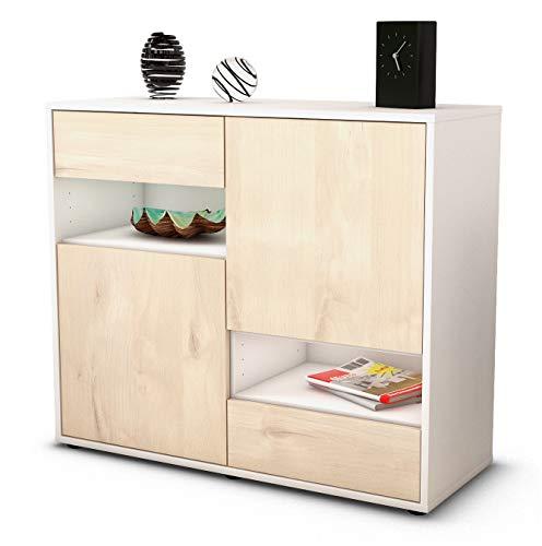 Stil.Zeit Sideboard Carmelina/Korpus Weiss matt/Front Holz-Design Zeder (92x79x35cm) Push-to-Open Technik & Leichtlaufschienen -