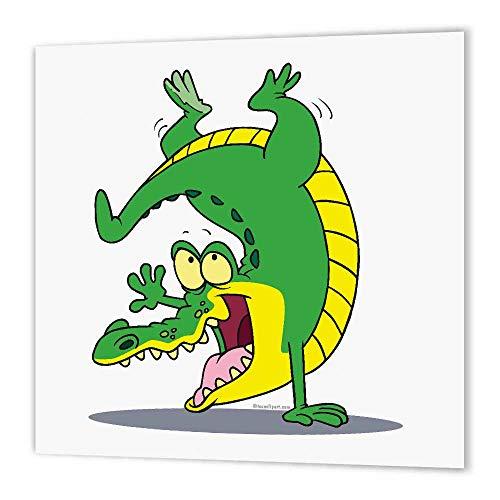 3dRose HT 3Steinpilz Happy Alligator Krokodil Cartoon Dancing Bügelpapier für weiß Material, 10by 25,4cm Alligator-sweatshirt