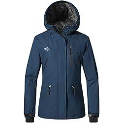 Wantdo Femme Manteau d'hiver Blouson d'extérieur Anorak à Capuche avec Polaire Veste de Ski Imperméable Coupe-Vent pour Hiver Bleu Foncé Small