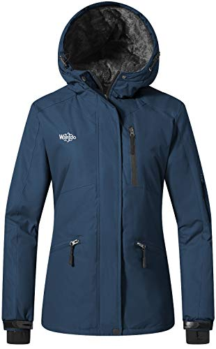 Wantdo Femme Manteau d'hiver Blouson d'extérieur Anorak à Capuche avec Polaire Veste de Ski Imperméable Coupe-Vent pour Hiver Bleu Foncé Medium