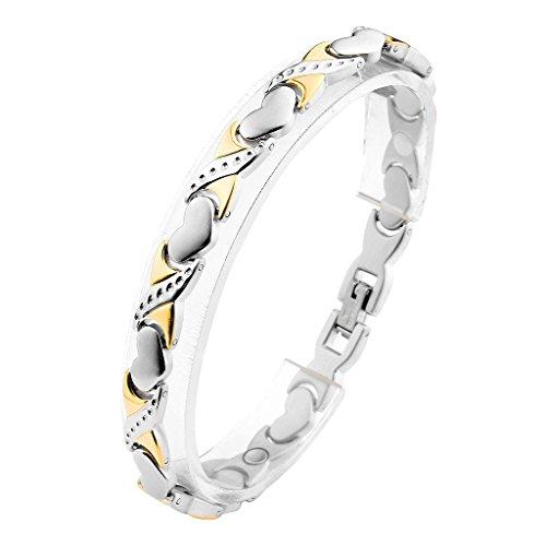 JOVIVI Damen Magnetarmband Edelstahl Magnetisch Armreif Magnete Armband Liebe Herz Armrief Silber+Gold