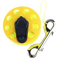 sharplace 30m 100ft Underwater Finger Spule mit Griff Double Ended Clip & Edelstahl Wrack Tauchen Tech Spule, gelb Line