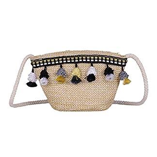 Bolso de paja Bandolera con bandolera bandolera Bolso de playa tejido a mano para mujeres niñas