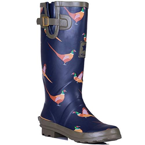 Ladies Womens New Flat Wellie Wellington Festival Animal Print Waterproof Rain Boots Size 3-8