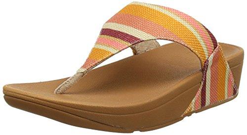 Fitflop Lulu Toe-Thong Sandals-Stripey Canvas, Sandali Punta Aperta Donna Orange (Orange Stripey)