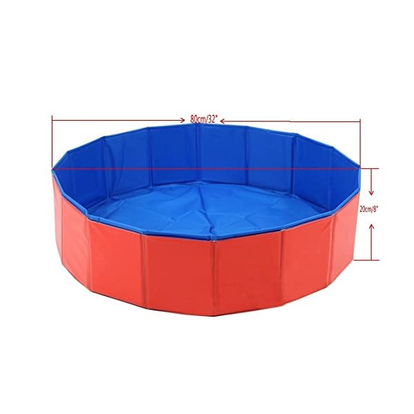 T Tocas Premium Foldable Pet Dogs Cats Swimming Cool Pools Round Shape Bathing Tub, Waterproof, 80 cm. D x 20 cm. H, Red & Blue 4