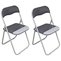 Harbour Housewares Cool Grey/White Padded, Folding, Desk Chair - Pack of 2