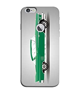 PrintVisa Designer Back Case Cover for Apple iPhone 6 (Logo View Window Case) (Cool Green Car In Grey Background)