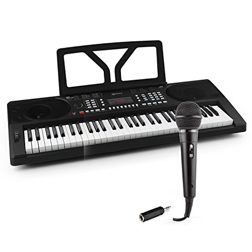 Unbekannt Schubert Etude 300 • Keyboard-Set • inklusive oneConcept Karaoke Mikrofon und auna Adapter 6,3mm auf 3,5mm Klinke • 61 anschlagdynamische Tasten (5 Oktaven, C2 - C7) • LED-Display • schwarz