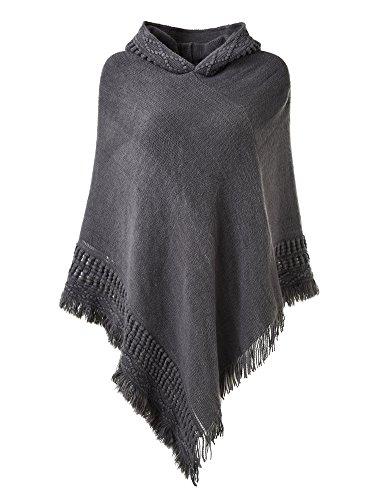 Ferand elegant poncho mantellina per donna con frange incavato con cappuccio, grigio