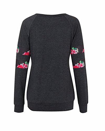BONESUN Damen Langarm Rundhals Blumen Casual Loose Sweatshirt Blusen Tops Dunkelgrau