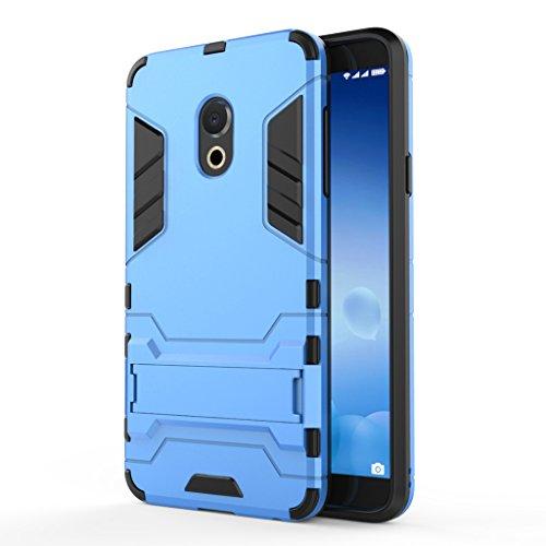 KaiTelin MEIZU M15 Hülle - Dual Layer Combo Fall Stoßfest Drop Resistance Schutz Tasche Handy Hülle mit Ständer für MEIZU M15 - Blau