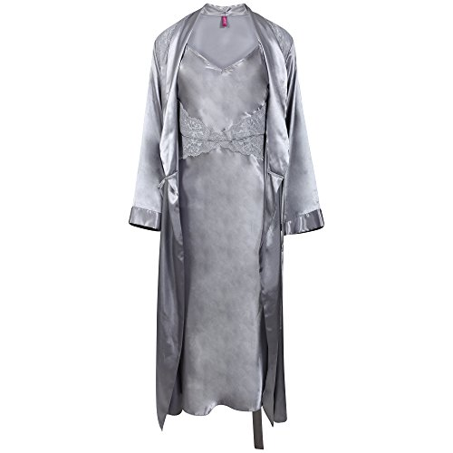 BHS Ladies Long Silver Grey Satin Chemise and Negligee Set. Sizes 10 12 14 16 18 - 41bCogrH9uL - BHS Ladies Long Silver Grey Satin Chemise and Negligee Set. Sizes 10 12 14 16 18