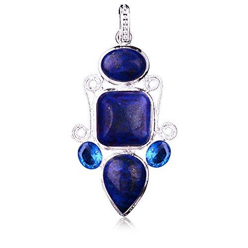 Yazilind Schmuck Blaue Prinzessin Peal Lapislazuli Anhänger für die Halskette, die Frauen