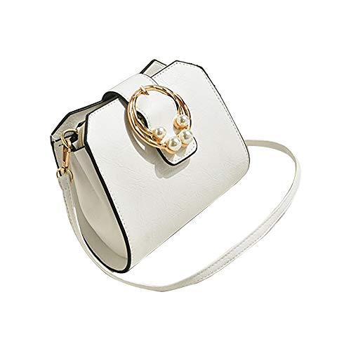 Yuwegr Damen Messenger Bag Mode Tide Umhängetaschen Casual Elegant Schultertaschen Wild Crossbody Tasche Kleine Quadratische Tasche(Weiß) -