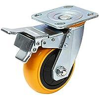 Zixin Ruedas Rueda Amarilla Desgaste de Poliuretano Silencio Placa Plana de Empuje Controlador de Freno de Rueda 5 Pulgadas (Color : C)