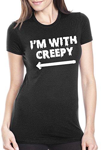 Crazy Dog TShirts - Women's I'm With Creepy T Shirt Funny Halloween Shirt For Women (black) M - damen - M
