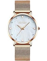 e50c6418ce15 Reloj analógico de Cuarzo para Mujer con Vestido de Dama y Banda de Acero  Inoxidable