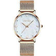 Reloj analógico de Cuarzo para Mujer con Vestido de Dama y Banda de Acero Inoxidable,