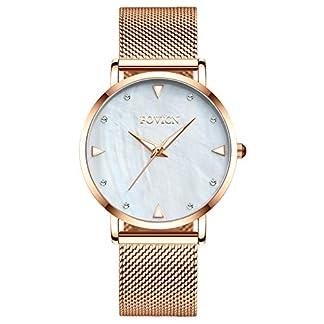 Frauen-Dame-Dress-Analog-Quarzuhr-mit-Edelstahlband-lssige-Mode-Wasserdichte-Uhren-Diamant-Strass-leuchtende-Armbanduhr-wei