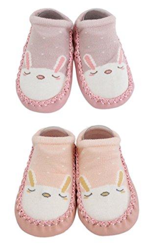 2 Paar Baby Jungen Mädchen Hausschuhe Anti-Rutsch-Schuhe Socken Bunny Cat Bear (Rosa + Pfirsich, 12-18M) (Hausschuhe-socken Für Baby Mädchen)