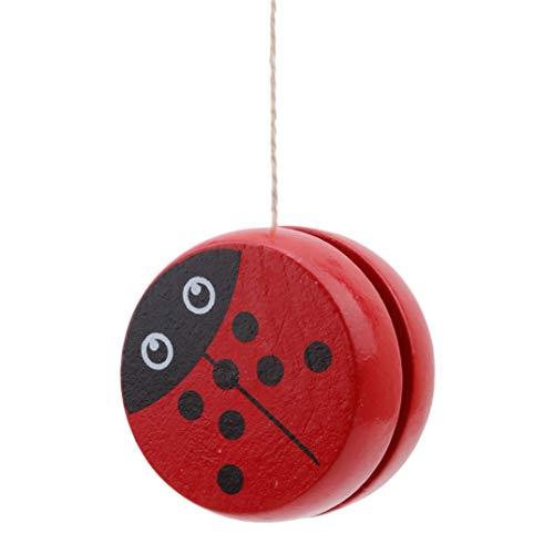 JOOFFF Yo-Yo Spielzeug Kreative Personalisierte Holz Yo-Yo Holz Klassische Spielzeug Yo-Yo Weihnachten Geburtstagsgeschenk für Ihre Kinder, Red Beetle