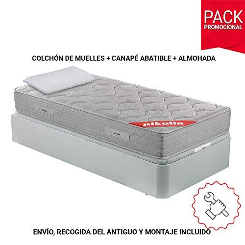 PIKOLIN Pack Colchón viscoelástico de muelles 90x190 + canapé con Base abatible...