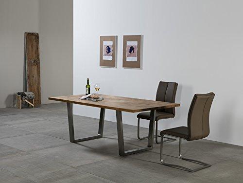 Delamaison Table de Salle à Manger rectangulaire en chêne masif et Acier INOX L200cm Olive