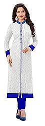 Vatsla Enterprise Women's Brasso & Net Kurta (WHITENETBL_01_WhiteFree Size)