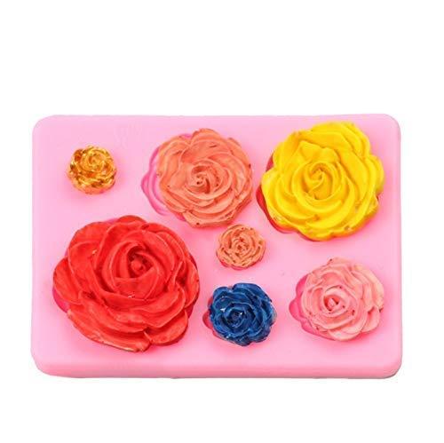 Gwill 2 Pack Rosen Sammlung Fondant Candy Silikonform für Zuckerfertigkeit Kuchen Dekoration, Cupcake Topper, Polymer Clay, Seife Wachs machen Crafting Projekte (Candy Wachs Halloween)