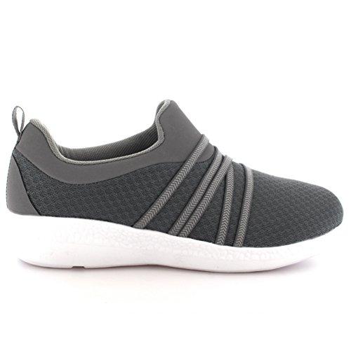 Femmes Poids Léger Engrener En Marchant Confortable Rembourré Chaussures Formateurs Gris/Blanc
