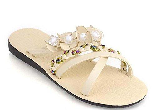 Pompe pantofole artificiale Pu casual piani del tallone Pianura Fiori donne comode casuali di lavoro Simple Shoes Europa formato standard 35-43 White