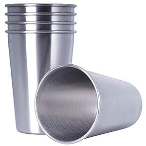 Seelinger Edelstahlbecher 5er-Pack – Wiederverwendbare Metall-Becher mit oder ohne Strohhalm, nachhaltiger Trink-Genuss…
