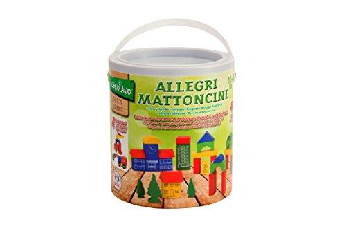 Legnoland 37439 - Secchiello Costruzioni Legno, Set Citta, 40 Pezzi, Multicolore