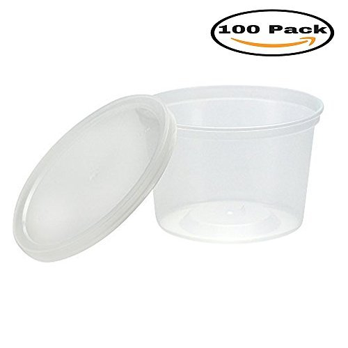 mydio 100Stück 142ml Einweg Kunststoff Teil Tassen mit Deckel, klar Teil Behälter für Lebensmittel und Getränke (Lebensmittel Für Behälter Klare)