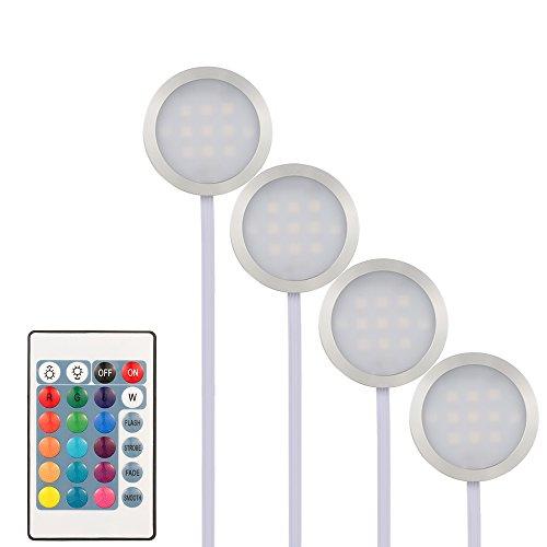 Lixada 4PCS RGB LED Kabinett Licht Installationssatz mit Fernbedienung für Bücherschrank Wandschrank, Dünne Runde Form Unterbauleuchte Farbändernde Dimmable Helligkeit Justierbar. (Kabinett-licht-kit)