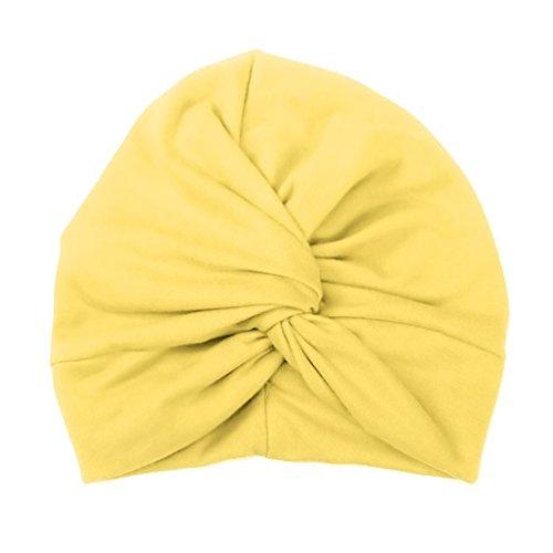 Haorw Baby Mütze Neugeborene Weich Baumwolle Turban Kleinkind Stirnbänder Baby Mädchen Stirnband (Gelb) (Weiße Und Gelbe Baby-stirnband)
