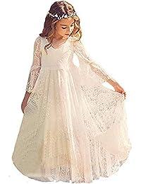 CQDY Vestido Blanco de niña de Las Flores Vestido Blanco de niña para el Bautizo de