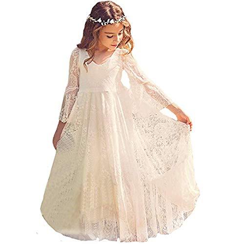 CQDY Mädchen Prinzessin Kleid Spitzen Blumenmädchen Kleid Festkleid 100-155CM