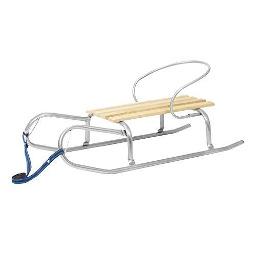 Slittino con schienale in alluminio e seggiolino in legno