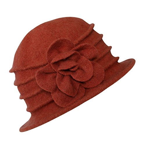 Urban GoCo Women's Floral Trimmed Wool Blend Cloche Winter Hat (#2 Orange)