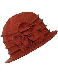 Urban GoCo Femme Elégante Printemps Chapeau Laine Casquette Vintage Fleur Béret Hiver Cloche