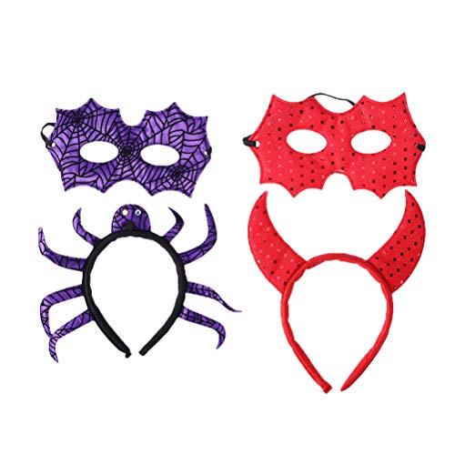 Teen Teufel Kostüm - Lurrose 2 Sätze Halloween Maskerade Masken und Stirnbänder Teufel Stirnband Spinne Kopfschmuck Anzieh Requisiten Maske Kopfbedeckung für Kostümparty