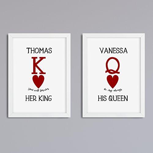 'His Queen Her King' 2er Set Druck ohne Rahmen