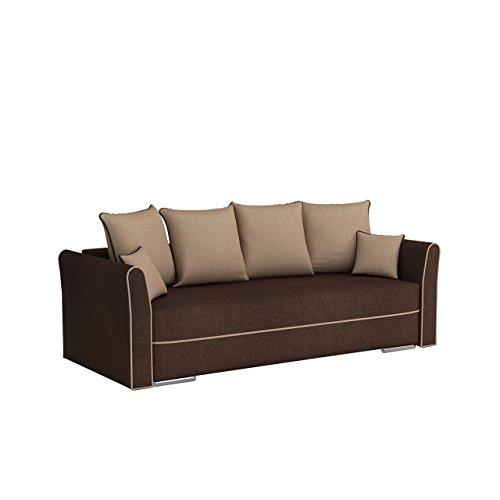 Mirjan24  Sofa mit Bettkasten und Schlaffunktion Halle, Schlafsofa, Couch, Bettsofa, Funktionsofa, Farbauswahl, Modern Polstersofa, Wochlandschaft (Lux 03 + Lux 24)