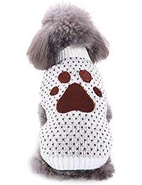 Navidad de Mascota Ropa Invierno para Perro Pequeños Suéter Perritos Abrigo Chihuahua Mascotas Accesorios Estampado de Huella de Perro Gusspower