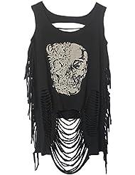 Aivtalk - Mujer Camiseta Suelta punk Chaleco Rock Impresión Estampado de Cráneo sin Mangas Ropa Verano con agujero - Negro1 Negro2 Negro3 Negro4 - Talla única