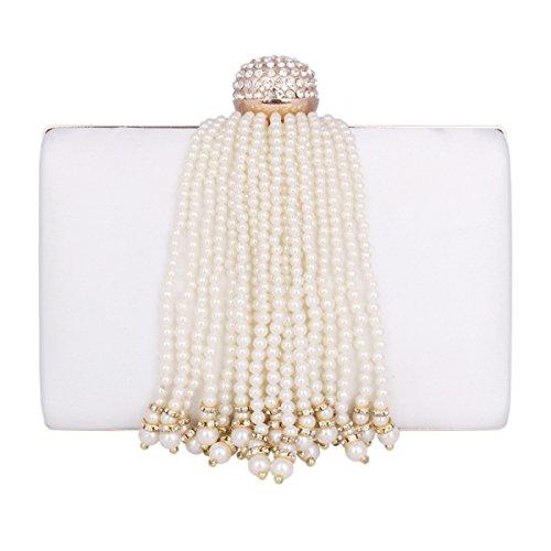Damara® Elegante Borsa Da Sera Con Pochette Da Donna Con Nappe In Perle Sintetiche Beige
