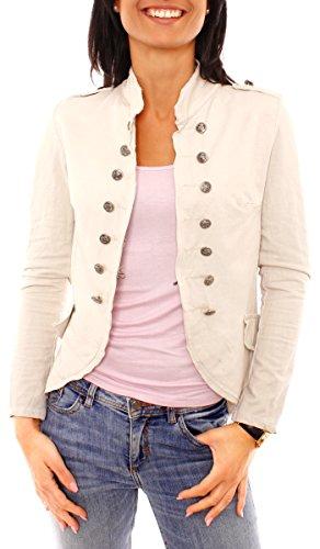 Damen Vintage Uniform Military Admiral Style Sweat Jersey Blazer Sakko Jacke Kurz Knopfleiste Offen Einfarbig Beige M 38 (L)